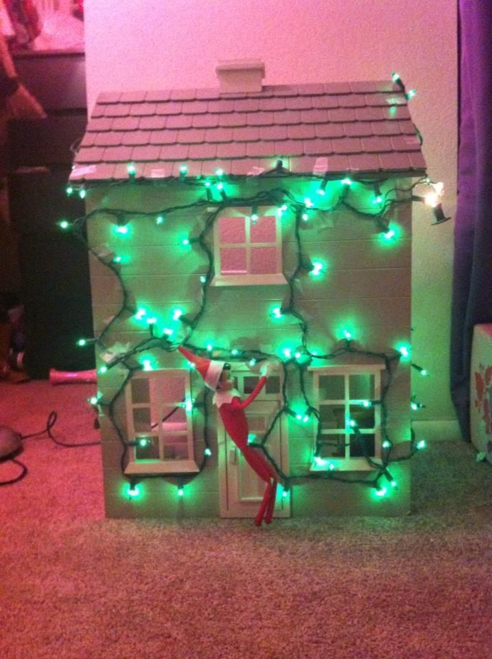 Elf on the shelf ideas. Napoleon decided to decorate the dollhouse.
