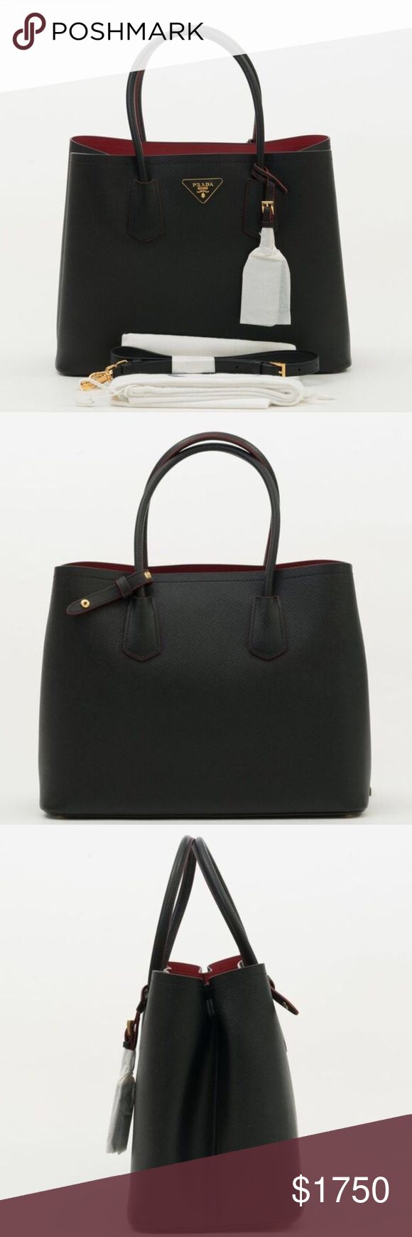 Prada saffiano cuir large tote black NWT 💯 AUTHENTIC  🎀 BRAND NEW ⛔️ NO TRADES  ⬇️ DISCOUNTED  ✈️ SHIPS QUICKLY   AUTHENTICITY AND QUALITY WILL BE VERIFIED BY POSHMARK CONCIERGE PRIOR TO BUYER RECEIVING THEIR ORDER.   Prior to purchasing the bag, try it in person at your local boutique or department shop to make sure that you are happy with the size and overall look. If you ask for dimensions, it means you have no idea what you're buying.   Serious inquiries only! Prada Bags Totes