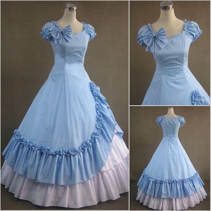 Freeship Victorian Corset Gothic/Civil War Southern Belle Ball Gown Dress Halloween dresses Sz US 6-26 XS-6XL V-38 $137.37