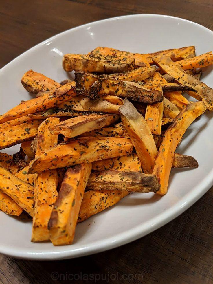 Oilfree sweet potato fries baked in air fryer Recipe