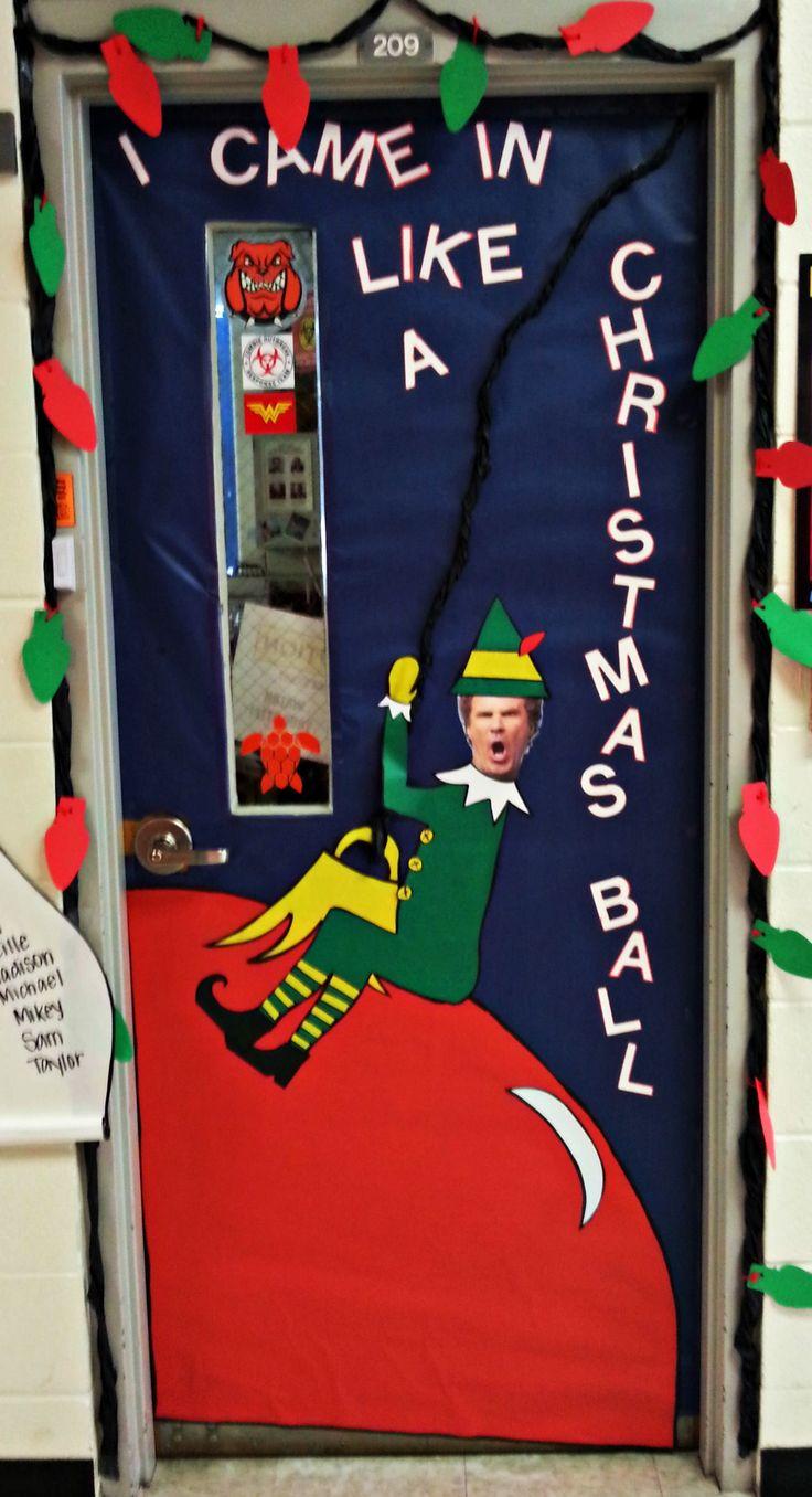 Christmas door decorating go for the laughs school for Works elf door