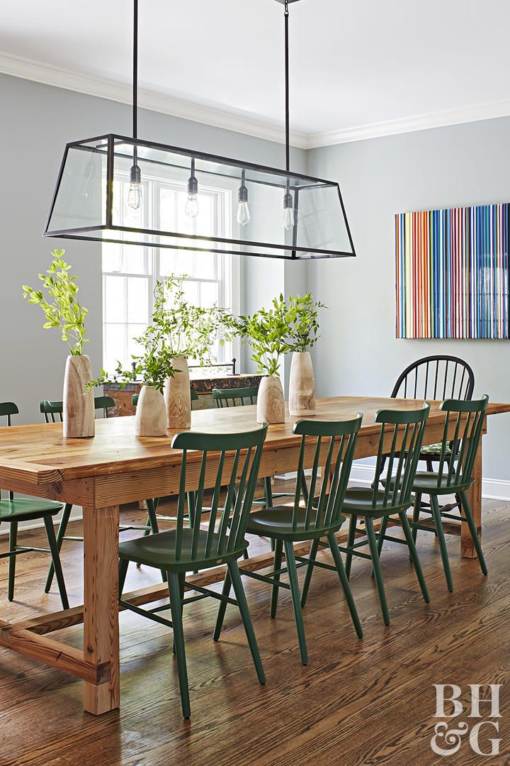 We Love This Home S Colorful Twist On Modern Farmhouse Style Modern Farmhouse Dining Modern Farmhouse Table Farmhouse Dining Room