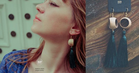PITOGO earrings Seeds and Pure SILK Tassel // by IRONWOLFjewelry