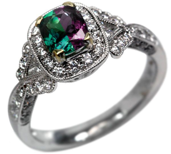 0.84 Carat Cushion Cut Natural Alexandrite Ring. This would be my preferred engagement ring! About 8 grand.