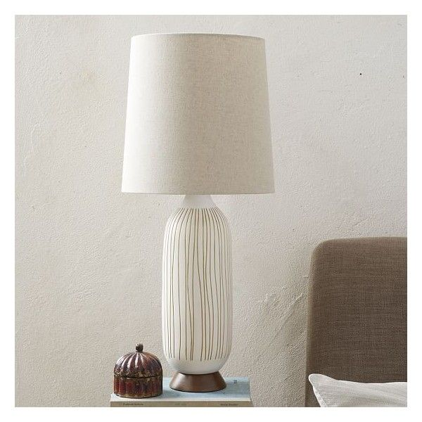 West Elm Mid-Century Ceramic Table Lamp - Bullet, West Elm - Desk... ($159) ❤ liked on Polyvore featuring home, lighting, table lamps, midcentury lamp, west elm, wood base table lamp, mid century light and ceramic light