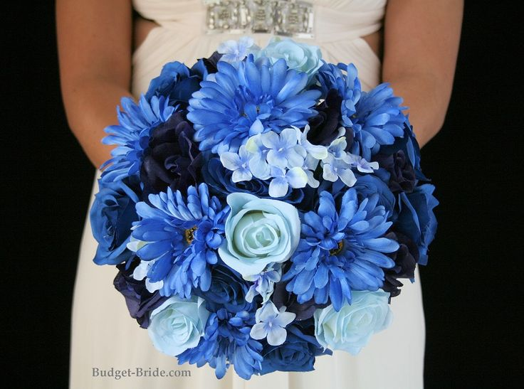 Royal Blue Wedding Flower Package with blue gerbera daisies, navy blue, royal blue and aqua blue roses with blue hydrangea.  Complete Wedding Flowers Packages starting at $100