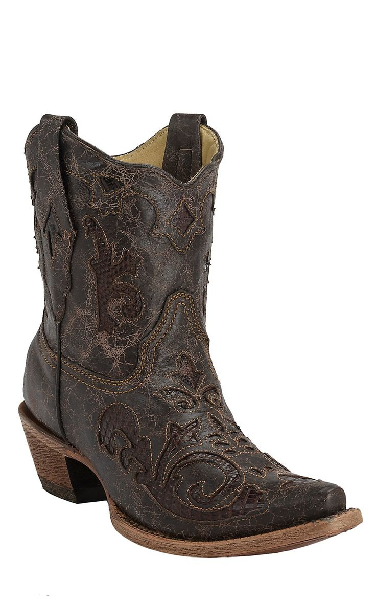 Corral® Chocolate w/Chocolate Lizard Inlay Short Top Snip Toe Western Boots