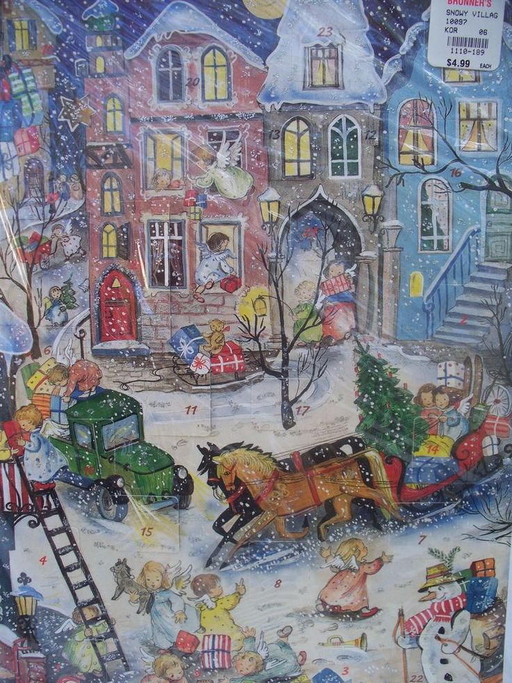 "Vintage Christmas Advent Calendar Western Germany ""SNOWY VILLAGE"" KORSCH VERLAG"