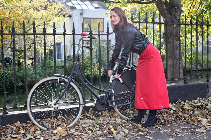 Elegant wrap around waterproof skirt to keep you dry while cycling and walking