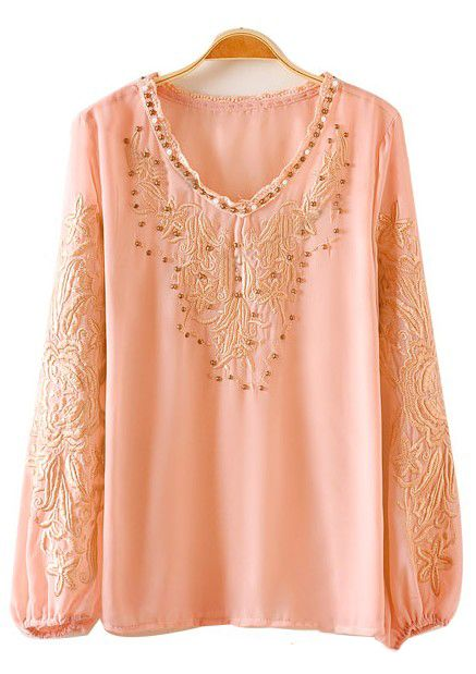 Embroidered Bead Chiffon Blouse