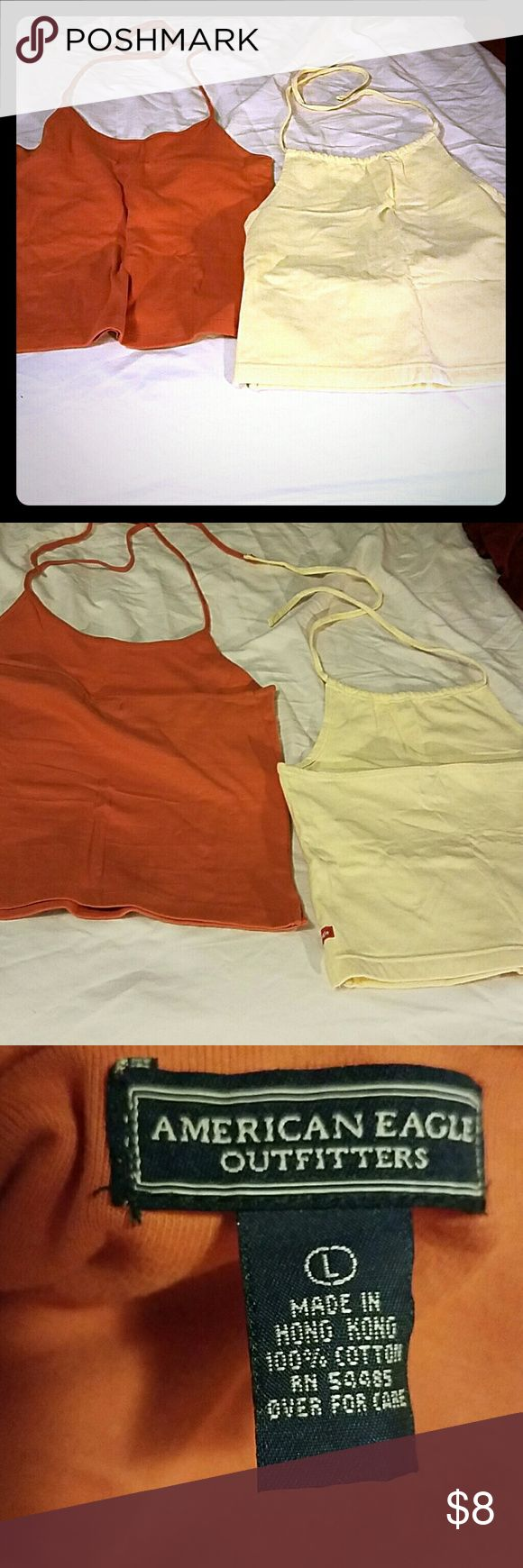 Bundle! American Eagle Outfitters Tank Tops! Two Halter Spaghetti Strap Tank Tops! Both American Eagle Outfitters. Both size large. Both like new!!! American Eagle Outfitters Tops Tank Tops