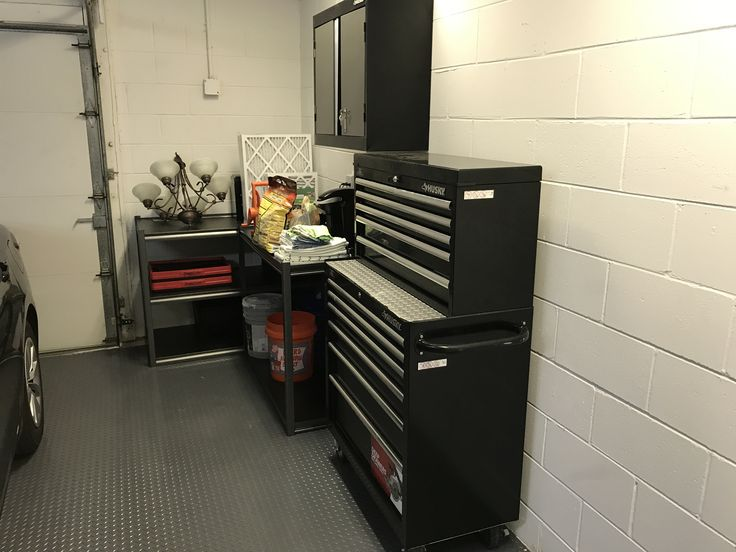 husky rolling tool chest and wall mounted husky garage storage cabinet with whalen compression fit shelving