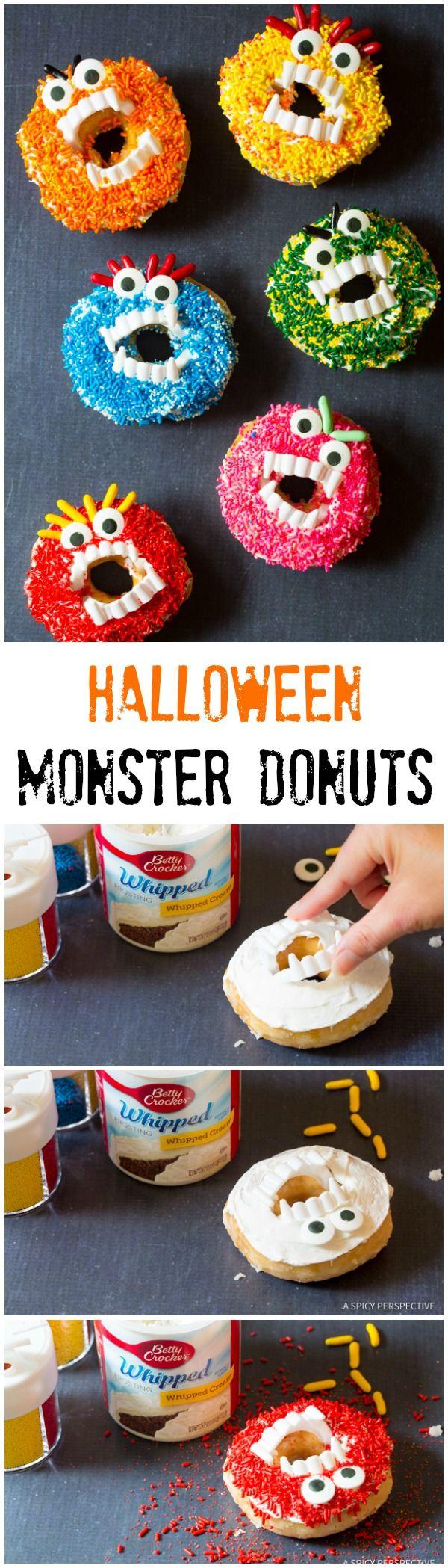 Kid-Friendly Halloween Monster Donuts | ASpicyPerspective.com via @spicyperspectiv