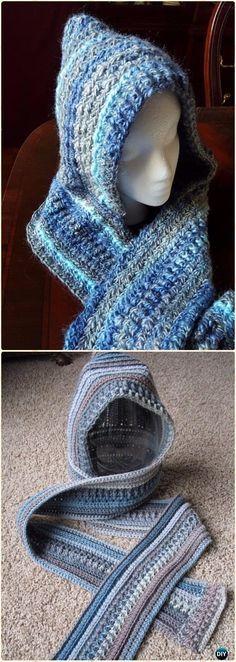 Crochet Ella Hooded Scarf Free Pattern - Crochet Hoodie Scarf Free Patterns
