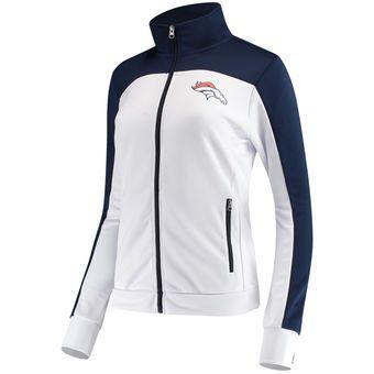 Women's G-III 4Her by Carl Banks White/Navy Denver Broncos Playmaker Full-Zip Track Jacket