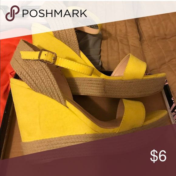 Yellow Wedge Heels NEVER USED! Superrrrr cute yellow wedges for the spring and summer seasons. Shoes Wedges