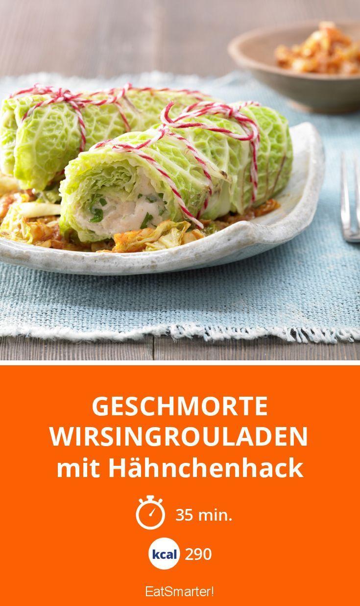 Geschmorte Wirsingrouladen - mit Hähnchenhack - smarter - Kalorien: 290 kcal - Zeit: 35 Min. | eatsmarter.de