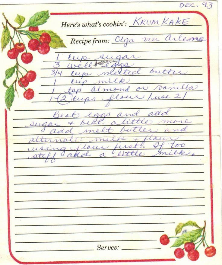here's a cookie recipe from Gramma Susie - KRUMKAKE, whatever that is. :)