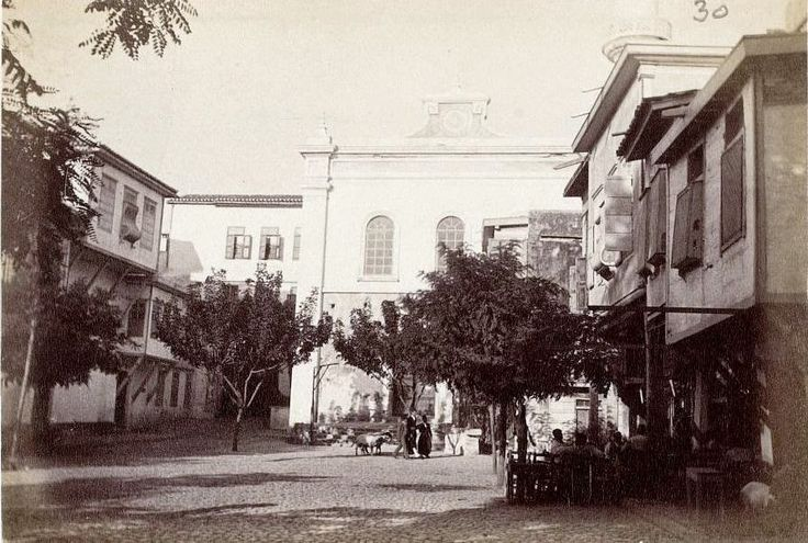 The old Catholic church in Splantzia square in the old town of Chania. Picture of 1890.