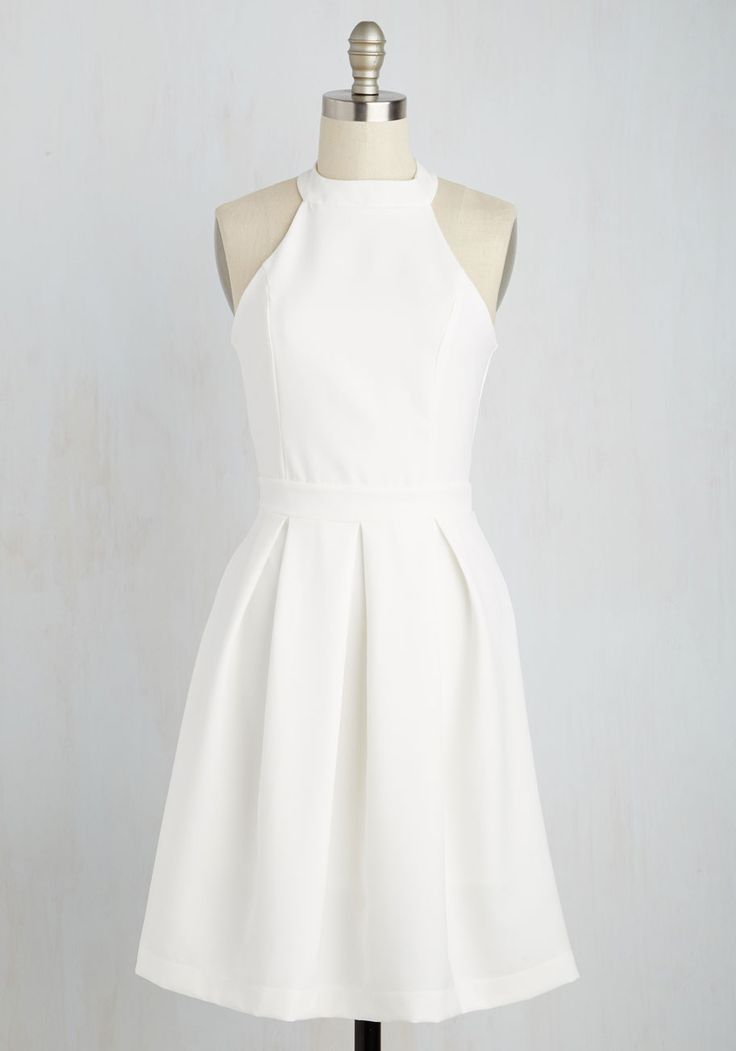 Joy to the Twirl Dress. The way you spin in this white dress has people thinking youre dancing on a cloud. #white #modcloth