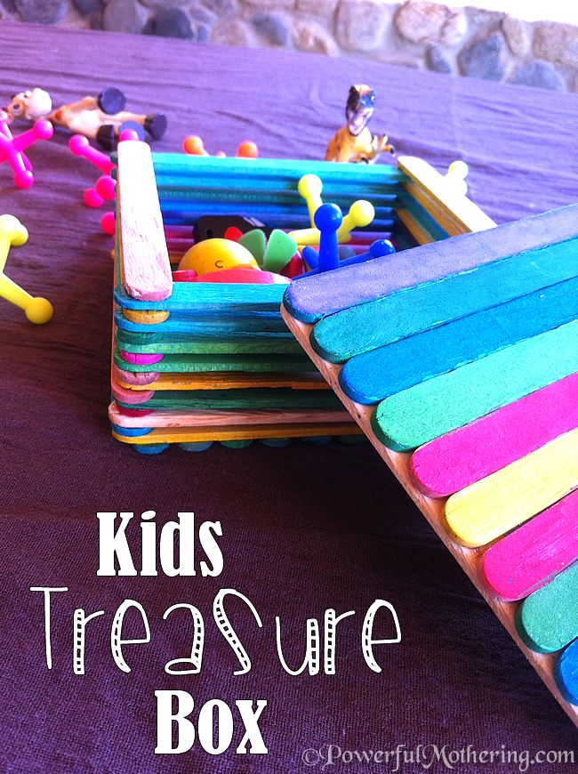 Kids Treasure Box made with Popsicle Sticks - fun homemade jewelry box for mom too
