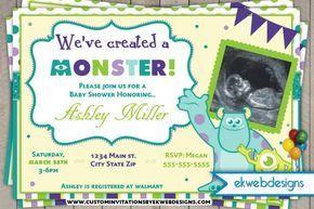 Monster University Baby Shower Invitations- Monster Inc. Invitations