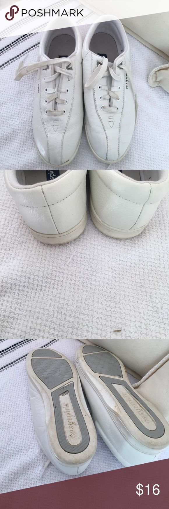 Easy Spirit Shoes Solid white leather, lace up and comfy shoes. Wore them once to walk in. Excellent condition Easy Spirit Shoes Sneakers