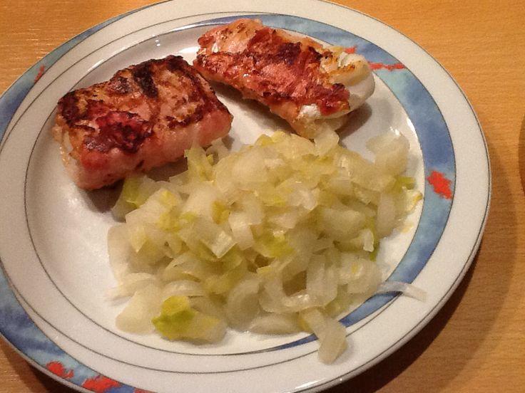 Kabeljauw met bacon en witlof.