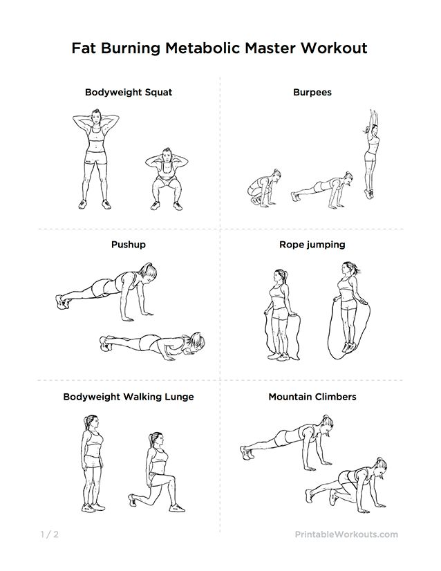 "Fat Burning ""Metabolic Master"" Printable Exercise Plan for Weight Loss"