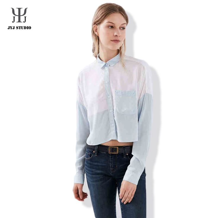 Aliexpress.com : Buy Summer Casual Loose Plus Size Shirt For Women Joint Color Polyester Long Sleeve Lapel Single Breasted With Pocket Blouses from Reliable shirt plus size suppliers on JYJ STUDIO