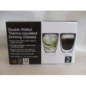 Double Walled Thermo-Insulated Drinking Glasses: Amazon.co.uk: Kitchen & Home