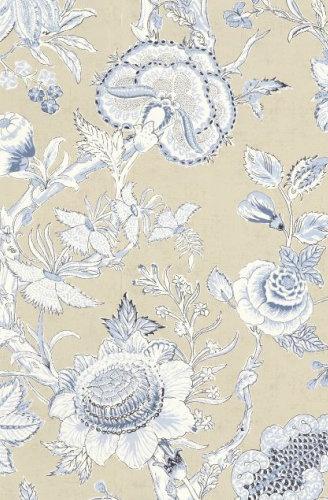 Flower Wallpaper Richmond Collection Tan Blue T4146