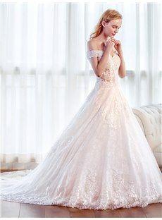 オフショルダー Aラインウェディングドレス 結婚式服装 花嫁ドレスベアトップ