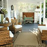 Decoration Ideas. . Impressive brown furry rug for your front porch furniture ideas along with brown rattan woven armchair also brown wooden side table