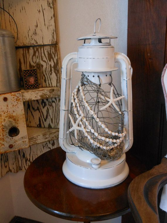 Vintage Nautical Lantern. White with Shells and Starfish. Night Light. Nautical Decor. Beach House for Coastal Living by searchnrescue2 on Etsy, $78.00