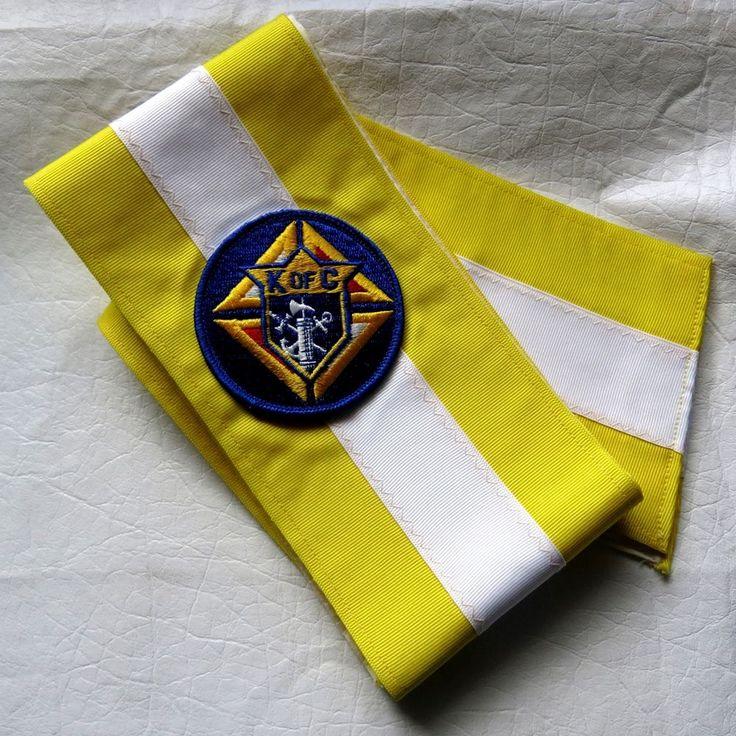 Knights Of Columbus K Of C Yellow White Sash