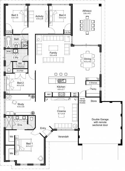 Interesting floor plan. Garage entrance, dining open to veranda, media room, smallish bedrooms, closet behind bed...