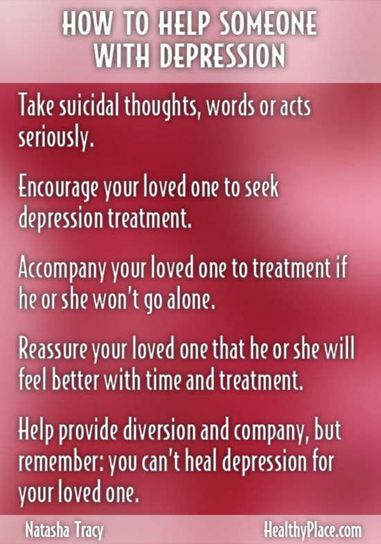 """Learn how to help and support someone with depression. Get important steps to provide help for depression."" www.HealthyPlace.com"