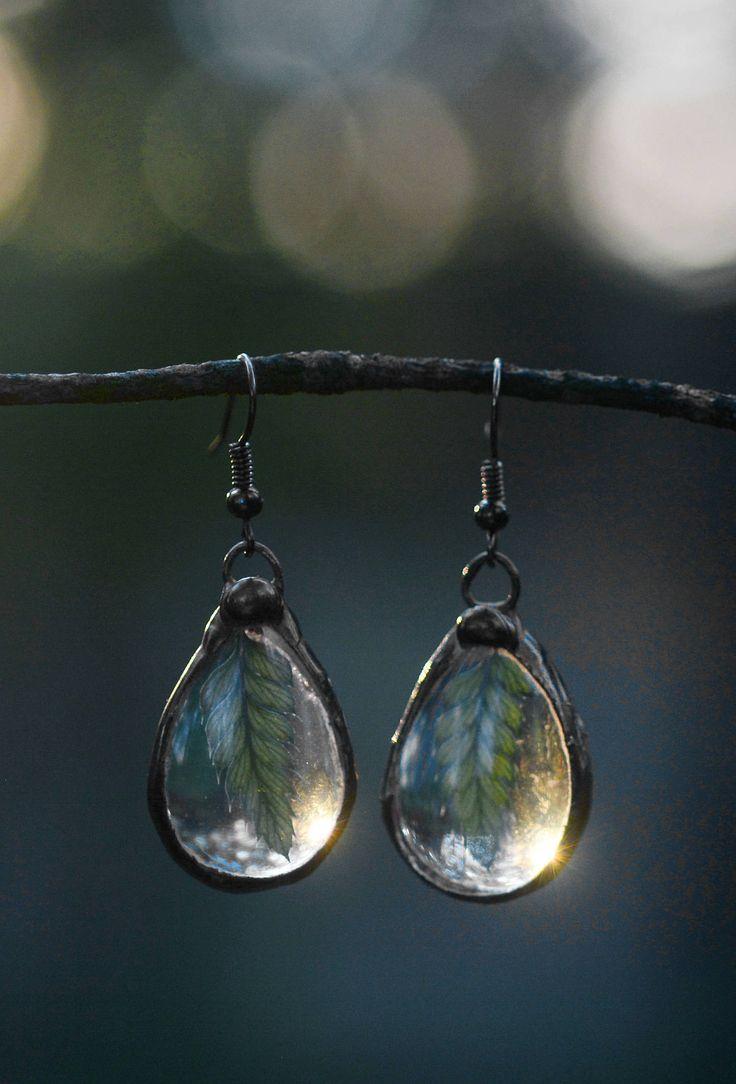 Dew drops earrings with fern leaves.