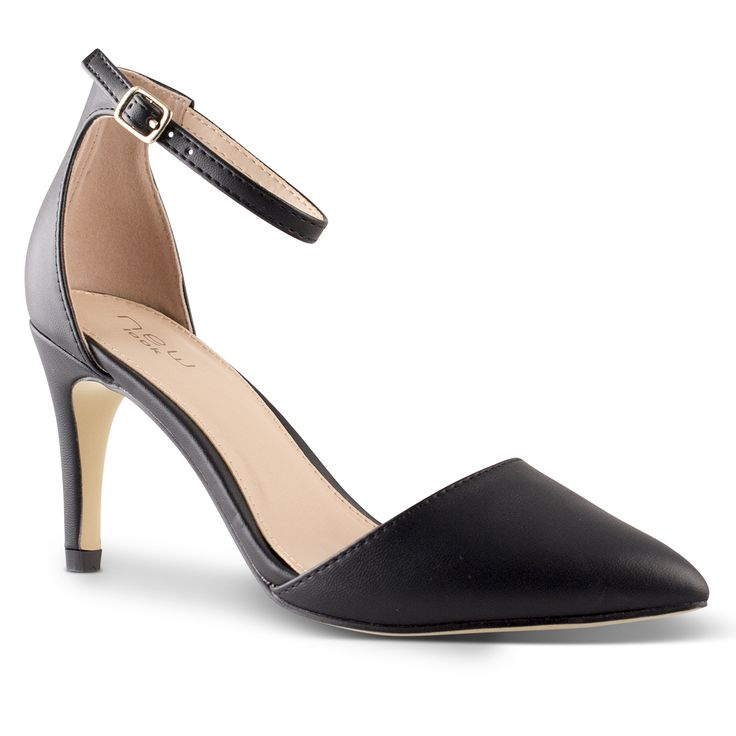 Womens Anni Black Dress Heel with Adjustable Ankle Straps with Pointy Toe By New…