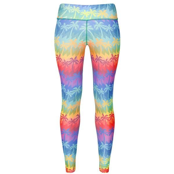 Tikiboo Malibu Palm Leggings #Activewear #Gymwear #FitnessLeggings #Leggings #Tikiboo #RainbowPrint #Running #Yoga #Butterfly