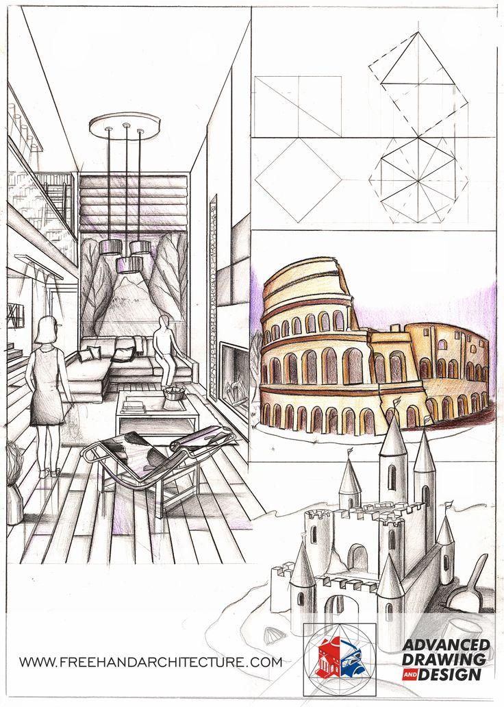 how to draw one point perspective architecture
