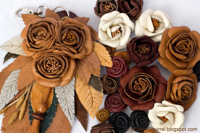Funny squirrel - Teddy bears & friends: Flowers Leather - Leather flowers tutorial