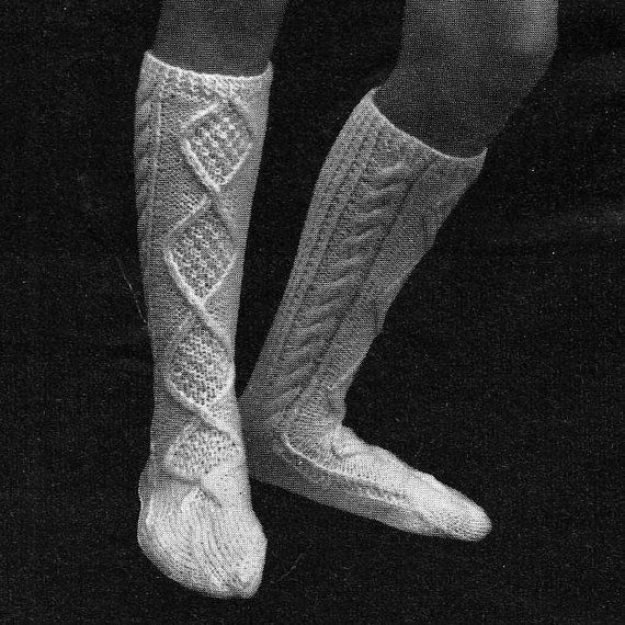 INSTANT DOWNLOAD PDF Vintage Knitting Pattern  Aran Socks  Boot Wellies Kilt Scottish Highland Dancing on Etsy, $2.06