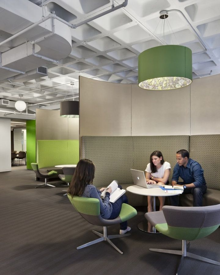 The design reflects an organizational culture change established by BBC's UK headquarters, utilizing streamlined open-team tables for desks, multiple meeting venues ranging from casual seating areas to formal conference rooms, central copy support areas, and no private offices.