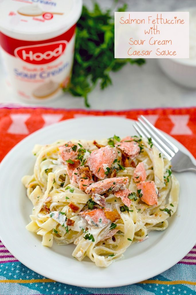 Salmon Fettuccine With Sour Cream Caesar Sauce Recipe Salmon Pasta Recipes Creamy Salmon Pasta Delicious Seafood Recipes