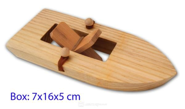 Wooden Paddle Boat Toy - Rubber Band Powered!