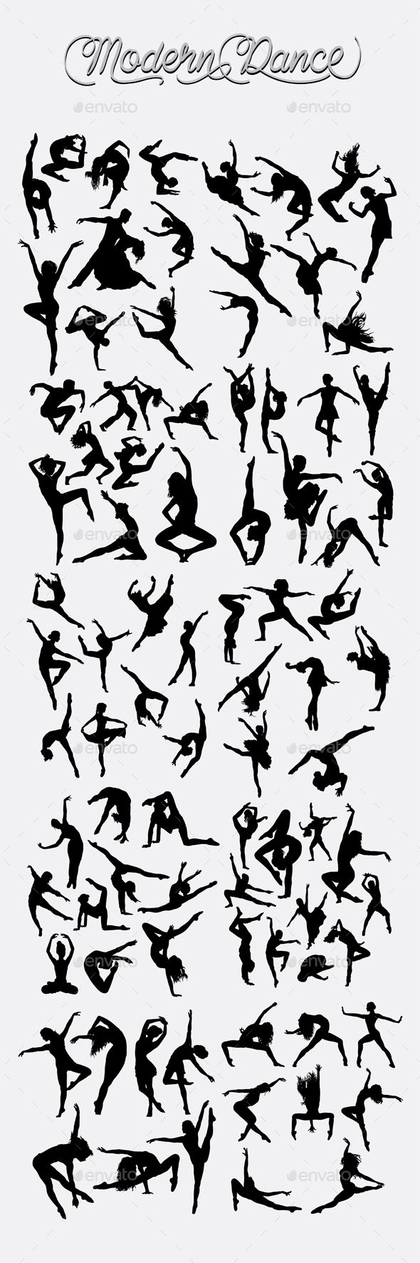 Modern Dance Silhouettes Vector EPS, AI Illustrator. Download here: https://graphicriver.net/item/modern-dance-silhouettes/16550215?ref=ksioks