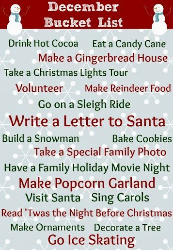 Printable December Bucket List Checklist #CIJ13 - Views From the Ville
