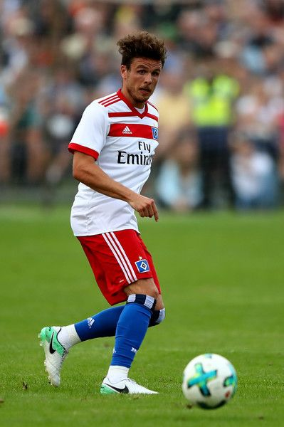 Nicolai Mueller of Hamburg runs with the ball during the preseason friendly match between Holstein Kiel and Hamburger SV at Gruemmi-Arena on July 19, 2017 in Kiel, Germany.